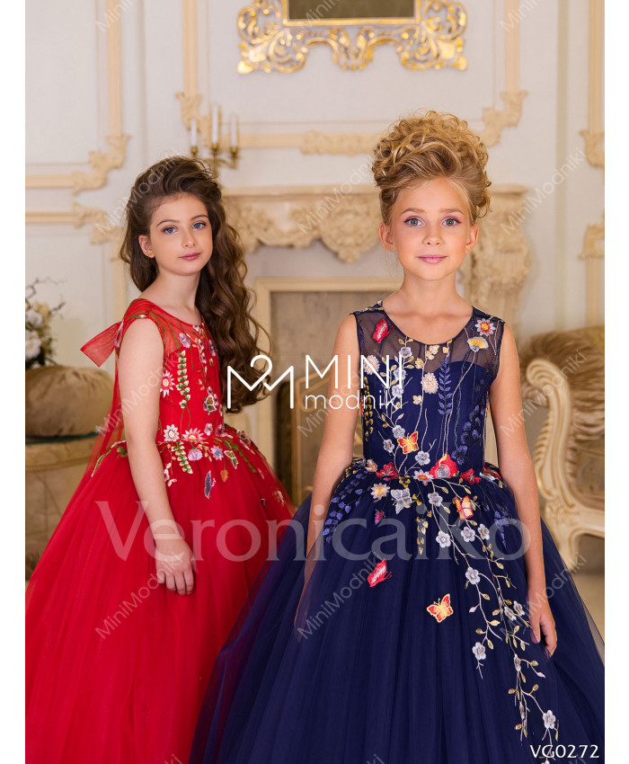 Платье пышное Бабочки синий от Veronicaiko - 3