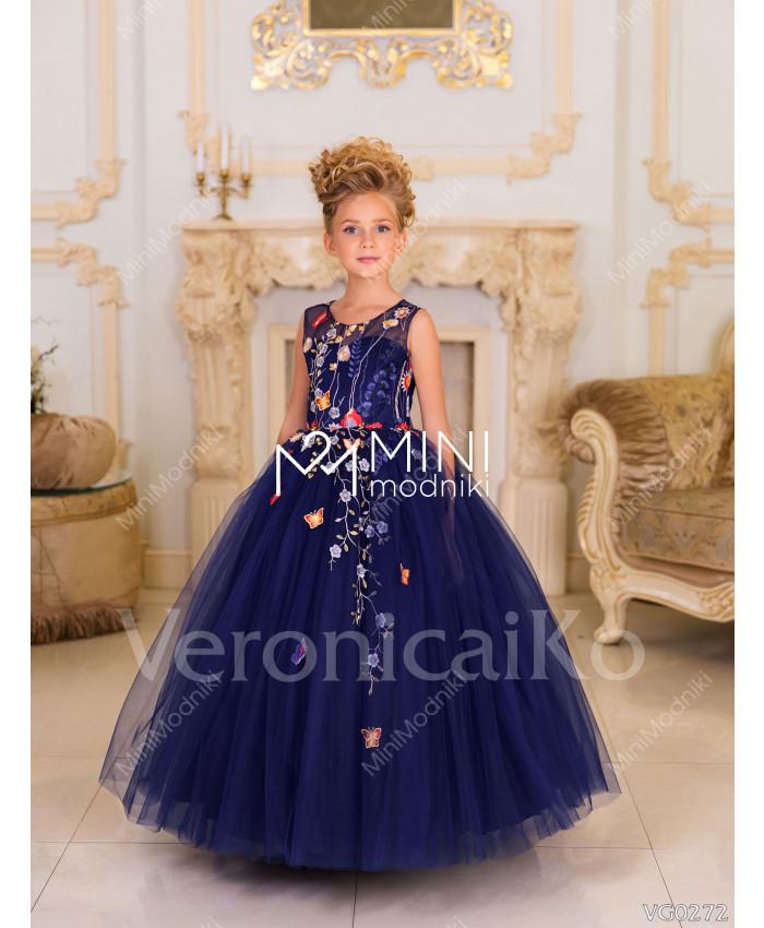Платье пышное Бабочки синий от Veronicaiko - 1