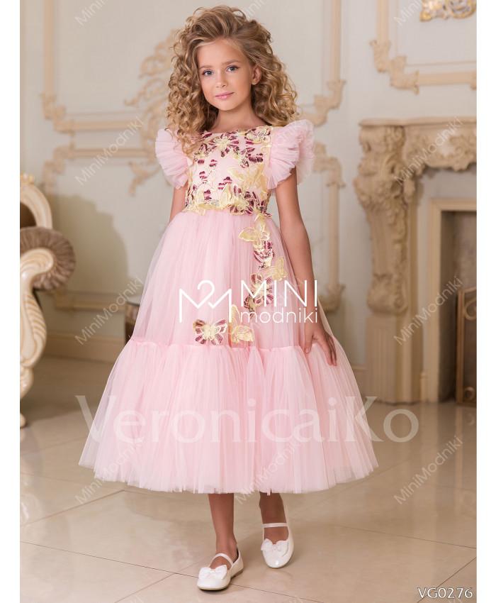 Платье миди Бабочки Розовый от Veronicaiko - 1